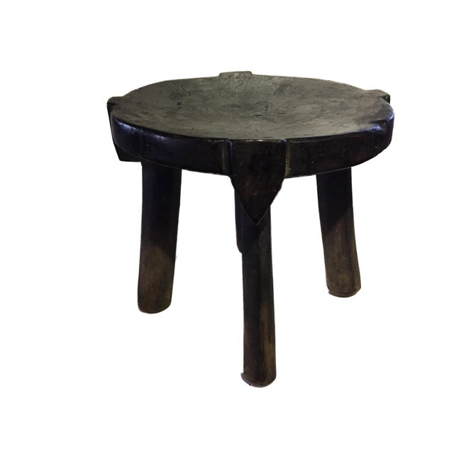 """African Old Carved Wood Milk Stool Hehe Gogo People Tanzania 10.25"""" H For Sale - Image 12 of 12"""