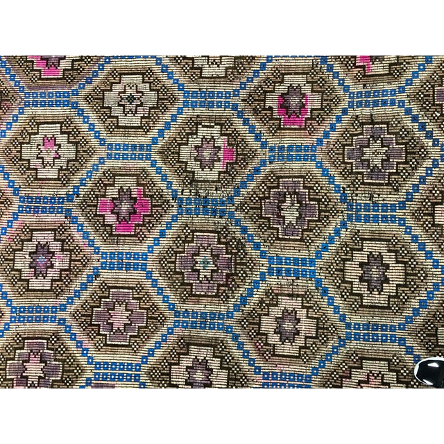 1960s Vintage Primitive Nomadic Aztec Turkish Traditional Wool Handmade Kilim Rug- 6′ × 8′8″ For Sale - Image 10 of 11
