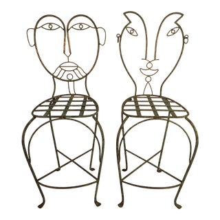 1980s Mid-Century Modern Figural Iron Bar Stools - a Pair For Sale