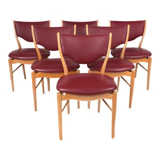 Finn Juhl Red Danish Modern Dining Chairs - Set of 6 For Sale