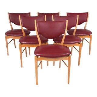 Finn Juhl Red Danish Modern Dining Chairs - Set of 6