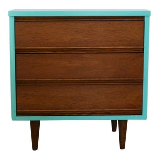 1960s Danish Modern Dixie Two-Tone Aqua Nightstand For Sale