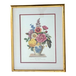 Vintage Chinoiserie Print Gilt Framed and Double Matted With Image With Blue and White Chinoiserie Vase and Colorful Bouquet of Flowers For Sale
