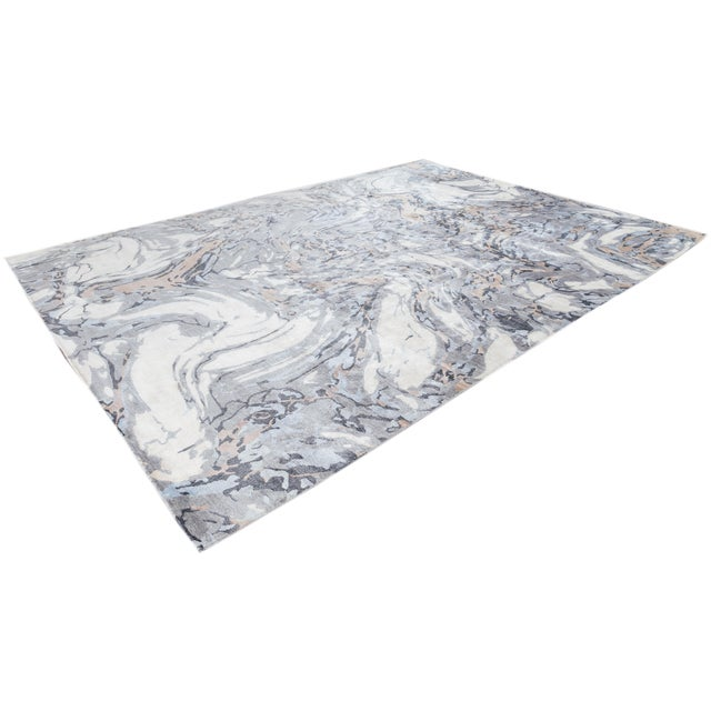 21st Century Modern Abstract Wool Rug For Sale - Image 11 of 12