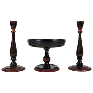Antique Turned Wood Console Set With Footed Bowl and Candlesticks For Sale