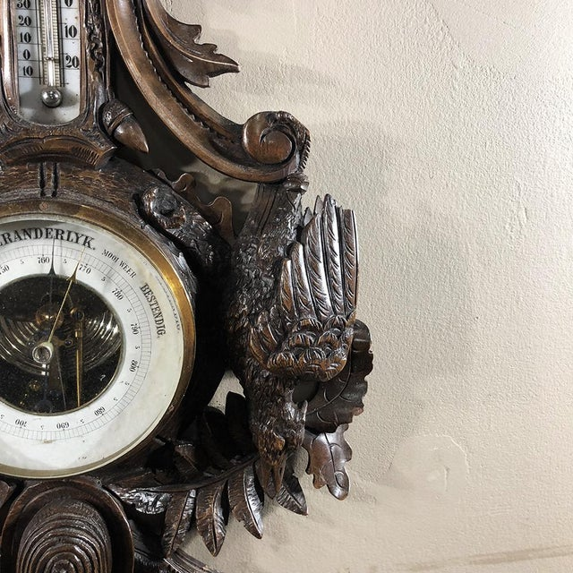 Ceramic 19th Century Black Forest Barometer - Thermometer For Sale - Image 7 of 12
