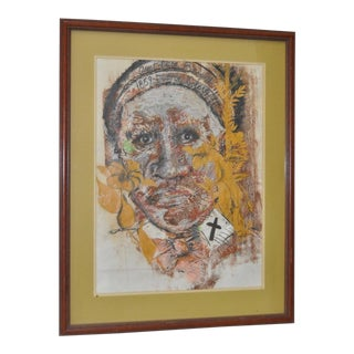"Joe Sam Original Mixed Media ""Aunt Clara Brown"" C.1984 For Sale"