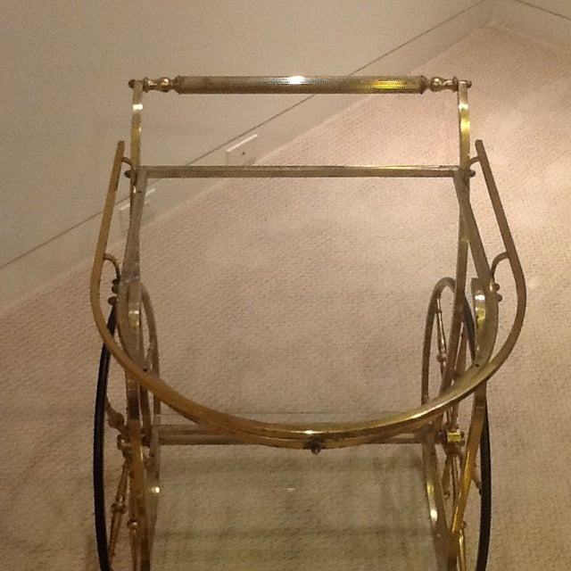 Vintage Mid Century Glass and Brass Bar Cart For Sale - Image 5 of 7