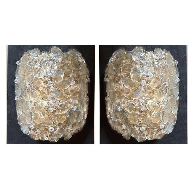 Mid-Century Modern Murano Glass Gold Flower Sconces by Barovier - a Pair For Sale - Image 11 of 11