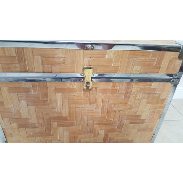 1970s Chinoiserie Woven Bamboo Storage Trunk For Sale - Image 12 of 13