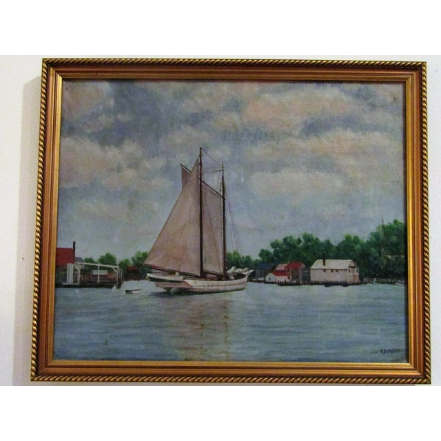 Vintage Original Signed Sailboat in a Cove Oil on Canvas - Image 3 of 5