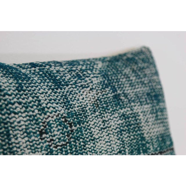 Turquoise Lumbar Over-Dyed Rug Pillows - Pair - Image 3 of 4