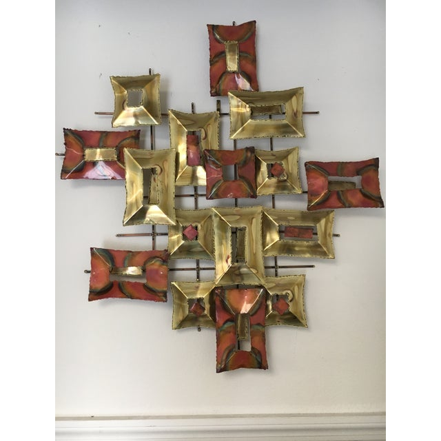 Gold 20th Century Brutalist Brass and Copper Wall Sculpture For Sale - Image 8 of 10