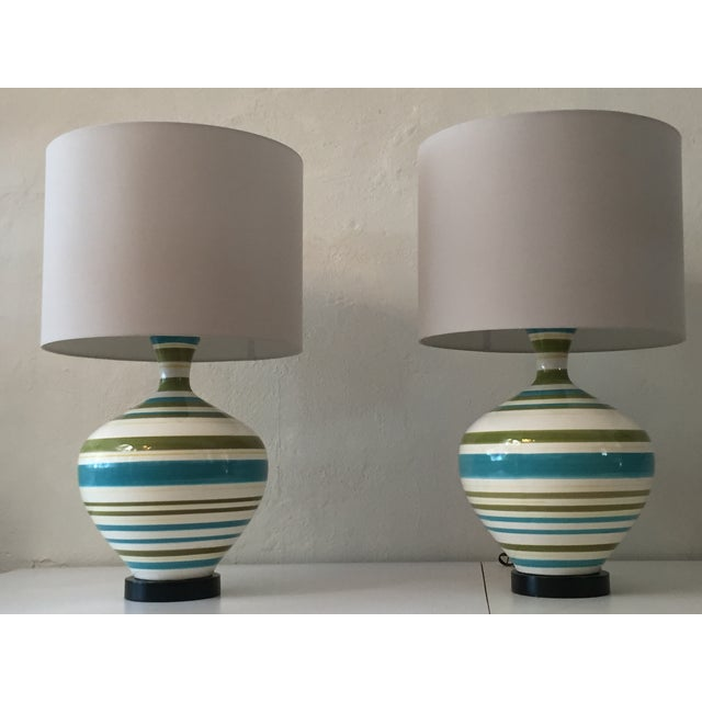 Mid-Century Hand Painted Lamps - A Pair - Image 2 of 5