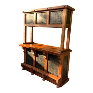 Rustic Freestanding Wooden Cocktail Bar Cabinet For Sale