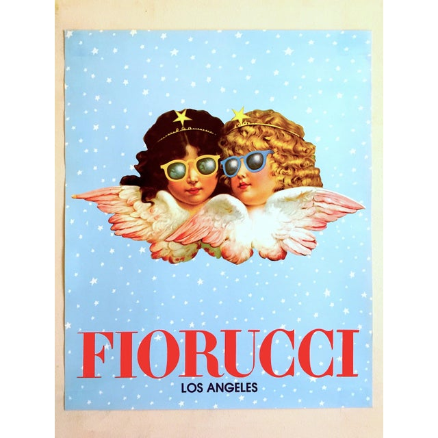 """This rare original vintage 1980 """" Fiorucci Los Angeles """" new Wave Post Modern Italian fashion Pop Art poster of the iconic..."""