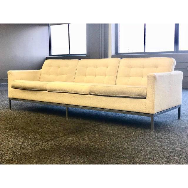 Mid-Century Modern Florence Knoll Cream Colored Wool and Chrome Three Seat Sofa - Image 2 of 7