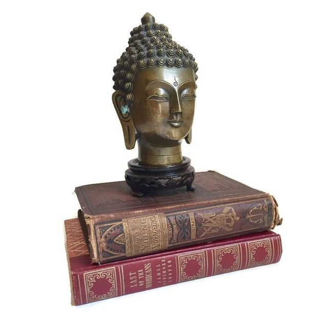 Vintage Tibetan Solid Brass Buddha Bust - Image 3 of 7