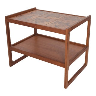 Danish Ox Art Teak Table Holiday Service Cart With Ceramic Tiles Denmark 1980s For Sale