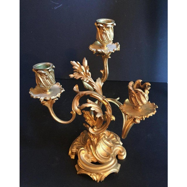 Louis XV 19th Century Ormolu Louis XV Style Candelabras - a Pair For Sale - Image 3 of 12