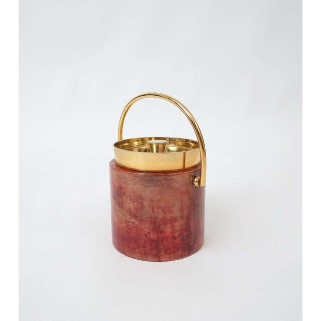 1960s Aldo Tura Parchment Brass Ice Bucket For Sale - Image 5 of 5
