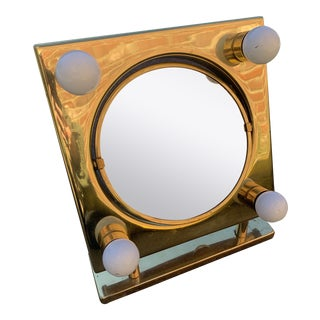 Mid Century Two Sided Lighted Brass Vanity Mirror For Sale