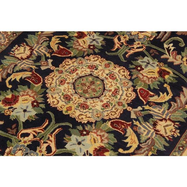 Art Nouveau 1980's Anarkali Pak-Persian Steven Blue/Ivory Wool Rug - 4'1 X 6'1 For Sale In New York - Image 6 of 8