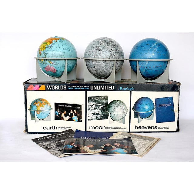 Paper Vintage Moon Celestial Earth Globes- Set of 3 For Sale - Image 7 of 11