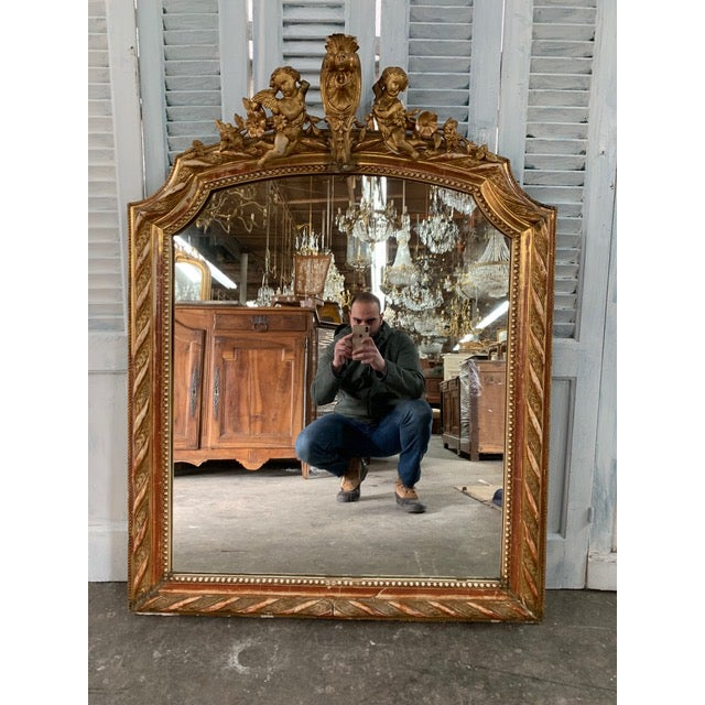 Gold 18th Century French Louis XVI Giltwood Mirror For Sale - Image 8 of 8
