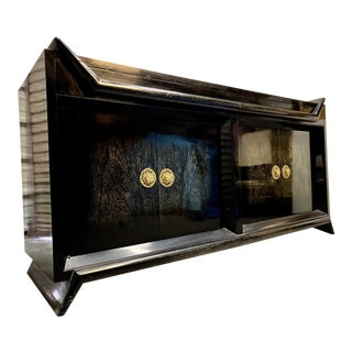 Robert Lewis Black Lacquered Credenza/Dresser For Sale