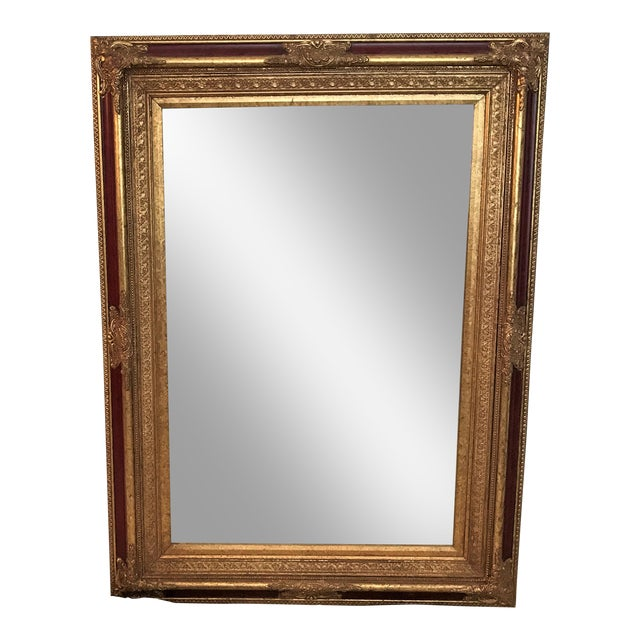 Neoclassical Beveled Faux Gilt Mirror - Image 1 of 4