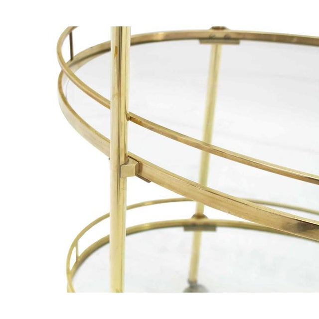 Mid-Century Modern Three-Tier Brass Oval Tea Serving Cart For Sale - Image 3 of 8