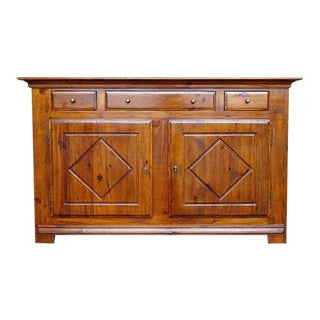 Vintage French Country Oak Kitchen Three Drawer Credenza Sideboard
