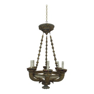 Antique Italian Carved Chandelier For Sale