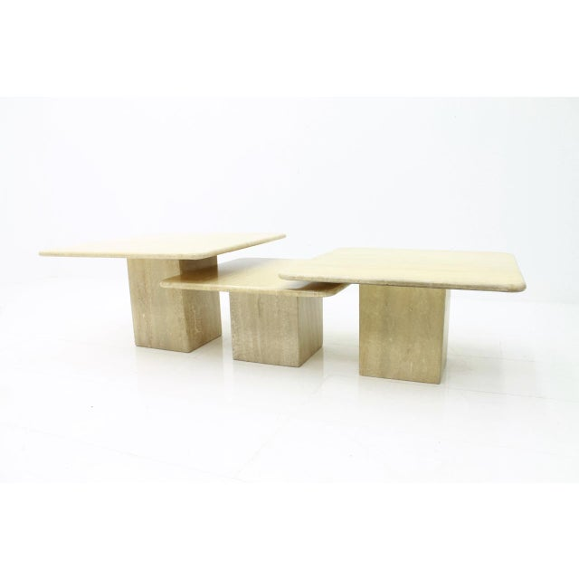 Set of Three Travertine Side or End Tables in different size. The travertine top is polished. Very good condition....