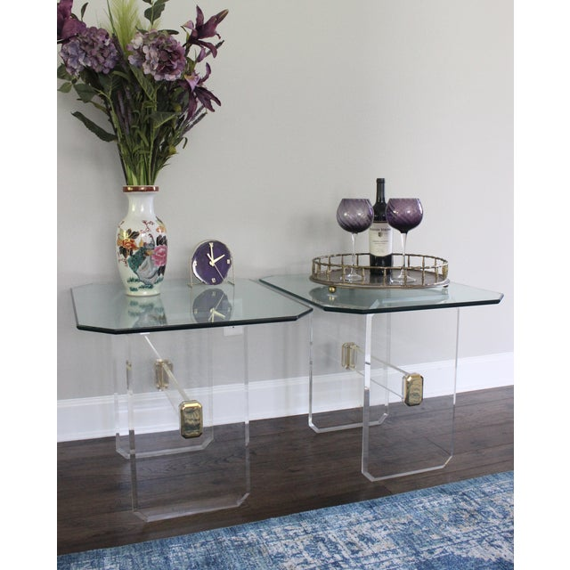 Vintage Lucite Brass and Glass End Tables - Pair - Image 4 of 11