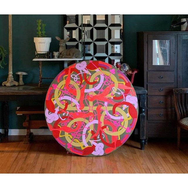 Canvas Vintage Large Round Psychedelic Bird and Snake Painting For Sale - Image 7 of 8