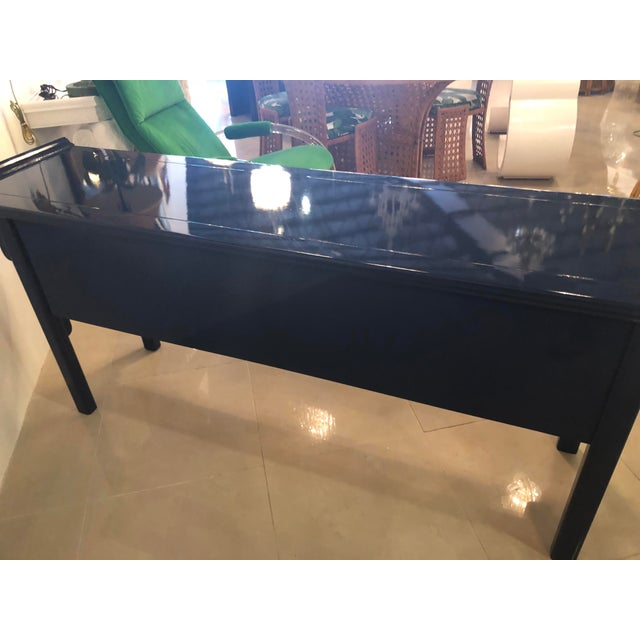 Brass Vintage Century Furntiure Pagoda Navy Blue Lacquered Brass Hardware Console Table For Sale - Image 7 of 11