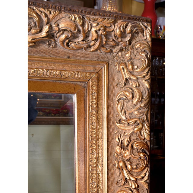 1920s French Vintage Large Beveled Giltwood Frame Wall Mirror For Sale In New York - Image 6 of 7