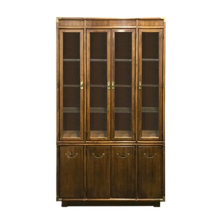 1960s Campaign Style China Cabinet by Drexel Accolade For Sale