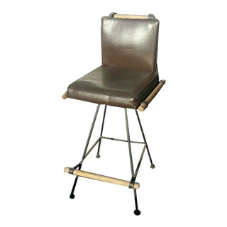 1950s Vintage Mid Century Modern Cleo Baldon Style Iron & Oak Barstool For Sale