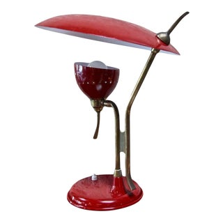 Oscar Torlasco Red Lacquered Table Lamp by Lumi For Sale