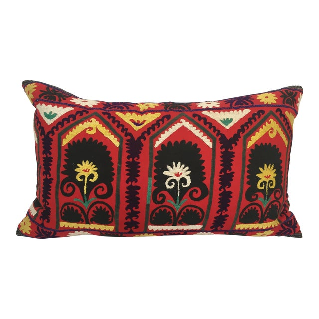 Vintage Large Colorful Suzani Embroidery Decorative Throw Pillow From Uzbekistan For Sale
