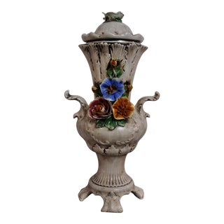 Vintage French Country Floral Porcelain Vase on Legs With Two Handles For Sale