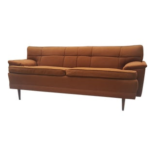 Mid-Century Modern Burnt Orange Tufted Sofa