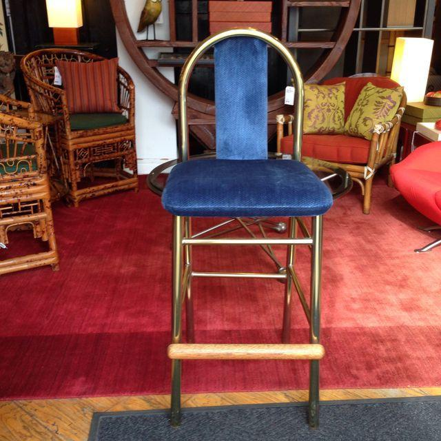 Brass Barstool With Blue Upholstered Seat - Image 5 of 6