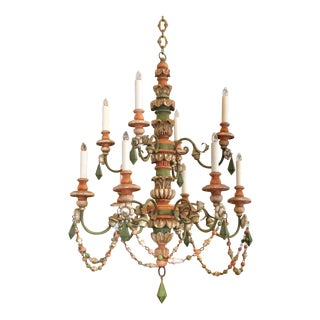 Ten-Light Carved Wood Venetian Chandelier With Colorful Detail For Sale