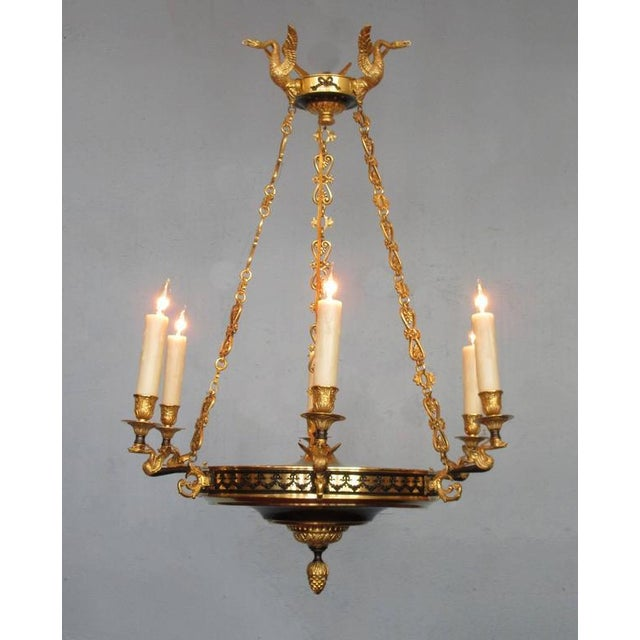 Early 19th Century French Restoration Patinated and Bronze Dore Swan Chandelier For Sale - Image 9 of 9