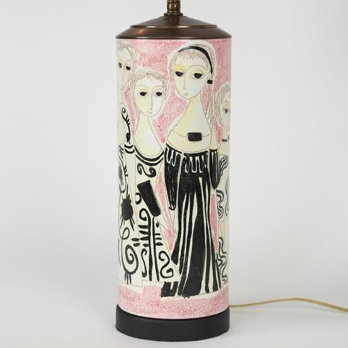 Raymor PARTY DRESS CERAMIC TABLE LAMP BY MARCELLO FANTONI For Sale - Image 4 of 6
