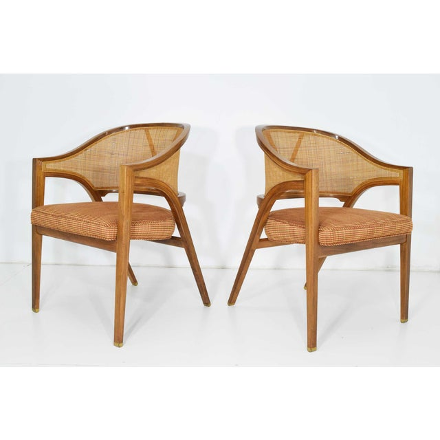 Metal Dunbar Cane Back Lounge Chairs by Edward Wormley - a Pair For Sale - Image 7 of 11